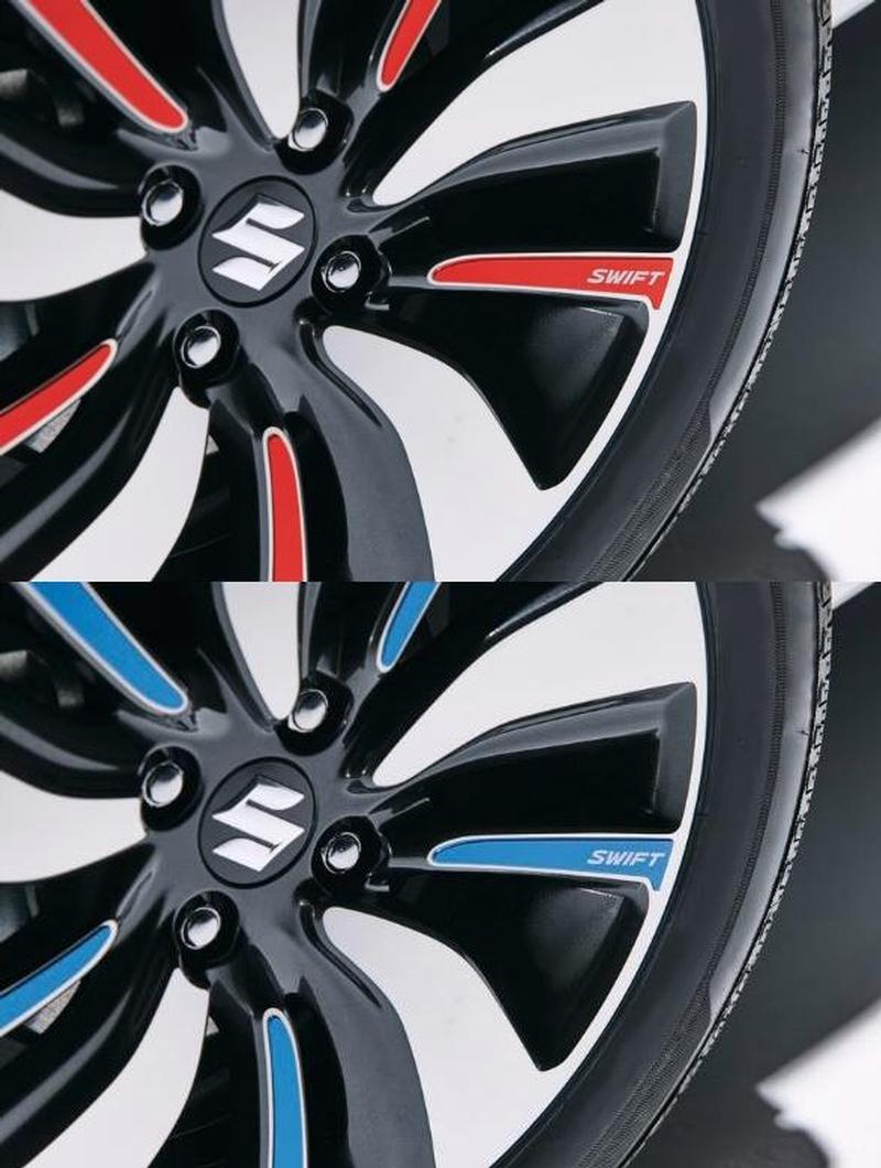 COLOURED WHEEL DECAL SET - Suzuki Swift 06/17>
