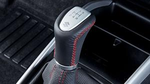Leather Gear Shift Knob Blk/Slv/Red, New Baleno